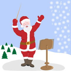 Santa Claus is the greatest musician of nature in winter