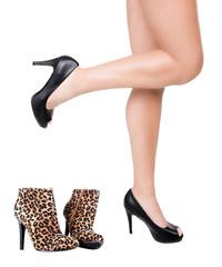 pretty female legs with black high heels