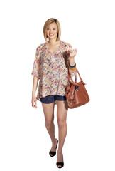 Cute casual girl with handbag