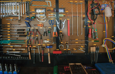 hand tool kit object arrangement on car auto service