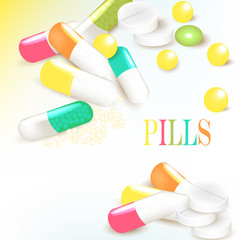 Medicine background with multicolored pills