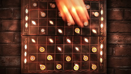 Draughts (checkers) game timelapse video with bricked background