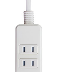 Close - up white extension power strip