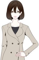 女性 コート 困り顔