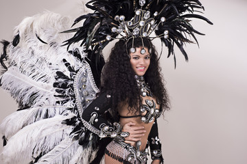Samba dancer wearing black costume