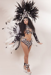 Samba dancer wearing traditional black costume