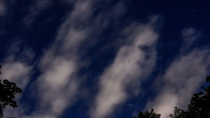Stars & Clouds Lit by Full Moon