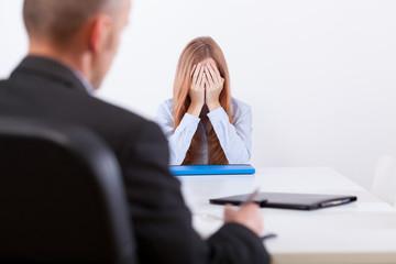 Broken girl during an interview