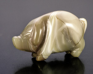 Carved blue lace agate pig
