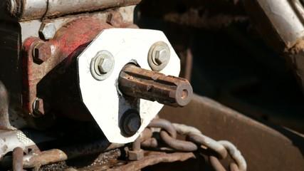 Rotating Exposed Mechanical Shaft Close Up
