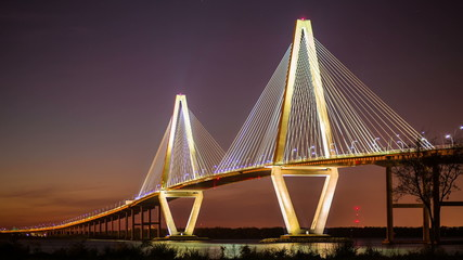 Timelapse of Ravenel Bridge in Charleston SC with a passing ship