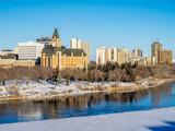 Fototapeta Saskatchewan River valley and Saskatoon skyline