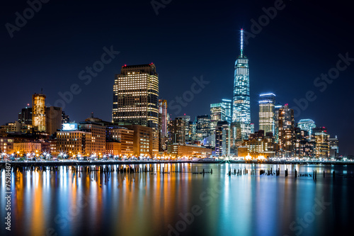 Naklejka Lower Manhattan by night