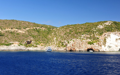 Island in the Ionian Sea, Zakynthos. Azure coast of Greece. View