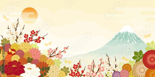 Fototapeta 富士山と日の出と満開の花