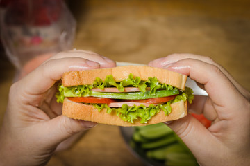 woman's hands, holding onto a sandwich