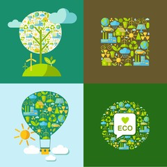 Simple illustration with many icons on nature theme