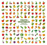 The collection of icons on fruits and vegetables. Fresh food poster