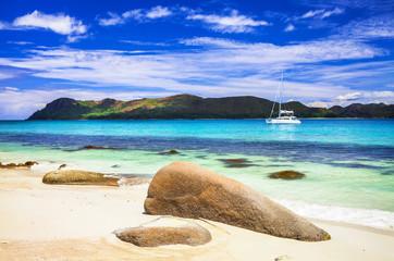 beautiful panoramic veiw of the beach with yacht, Seychelles