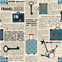 Imitation of newspaper with suitcases and word travel.
