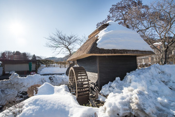 Japanese House with snow