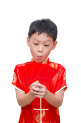Asian boy with Chinese traditional dress  holding ang pow or re