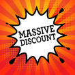Comic book explosion with text Massive Discount, vector