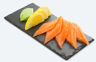 Salmon sushi sashimi isolated