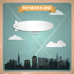 Vintage zeppelin. Vector illustration