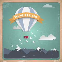 Vector postcard air balloon. Flat vintage design