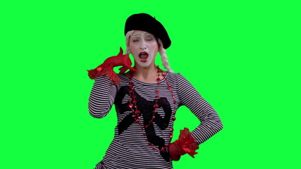 The mime talks on cell phone invisible