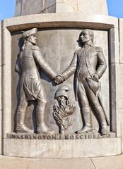 Bas-relief of Washington and Kosciuszko in Lodz, Poland