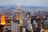 Aerial view of Kuala Lumpur at nightfall