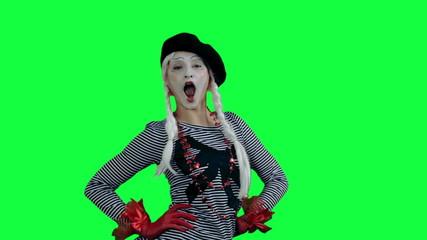 The mime posing like a fashion model