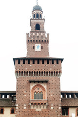Sforza Castle in Milan isolated on white