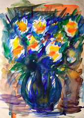 Watercolor painting of the abstract flowers.