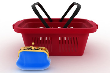 Shopping basket and purse full of money.