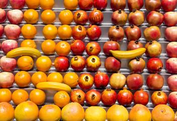 Fresh fruits at a market table