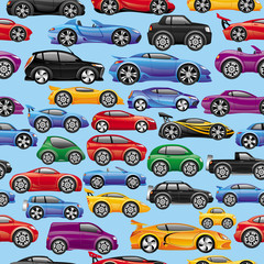 Seamless background. Cars on blue.