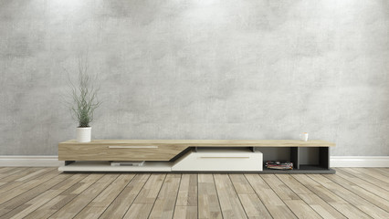 tv stand with concrete wall 3d design rendering