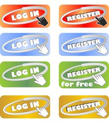 Set of web buttons for registration and login