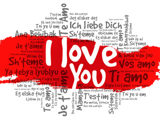 Word cloud - I Love You in different languages, valentine day