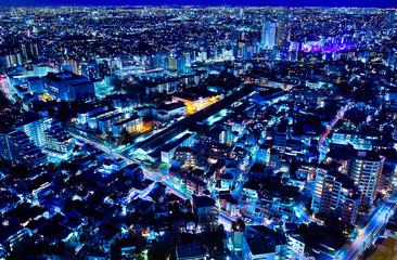 東京の住宅街の夜景