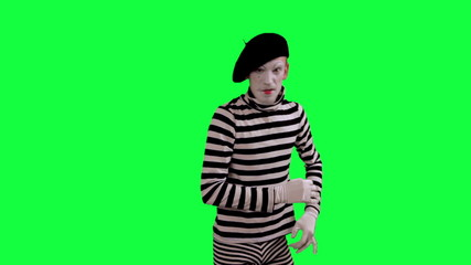 The mime intimidates and threatens
