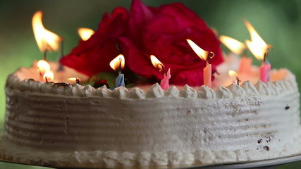focus on the cake with candle burning down and a flower
