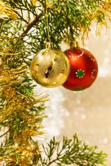 Christmas decorations on a Christmas tree