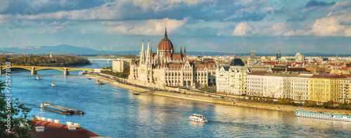 Aluminium Historisch geb. Panoramic overview of Budapest