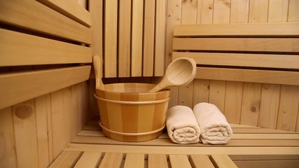 interior of finnish sauna and sauna accessories