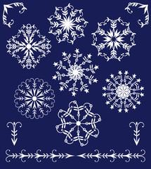 set of winter elements  mandala-style snowflakes