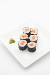 A plate of salmon maki sushi